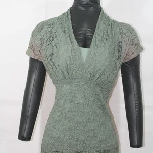 Green lace top with matching tank underneath